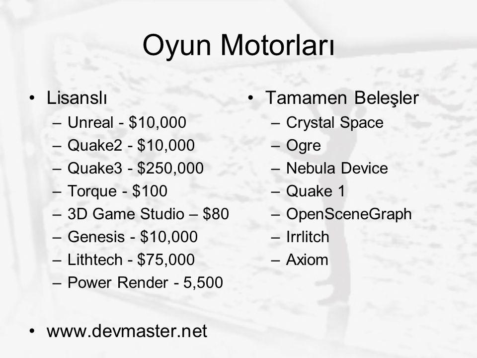 Oyun Motorları Lisanslı –Unreal - $10,000 –Quake2 - $10,000 –Quake3 - $250,000 –Torque - $100 –3D Game Studio – $80 –Genesis - $10,000 –Lithtech - $75