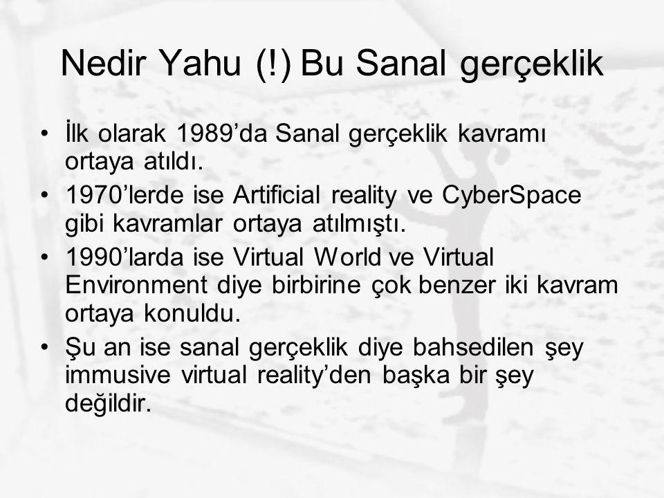 Nedir Yahu (!) Bu Sanal gerçeklik İlk olarak 1989'da Sanal gerçeklik kavramı ortaya atıldı. 1970'lerde ise Artificial reality ve CyberSpace gibi kavra