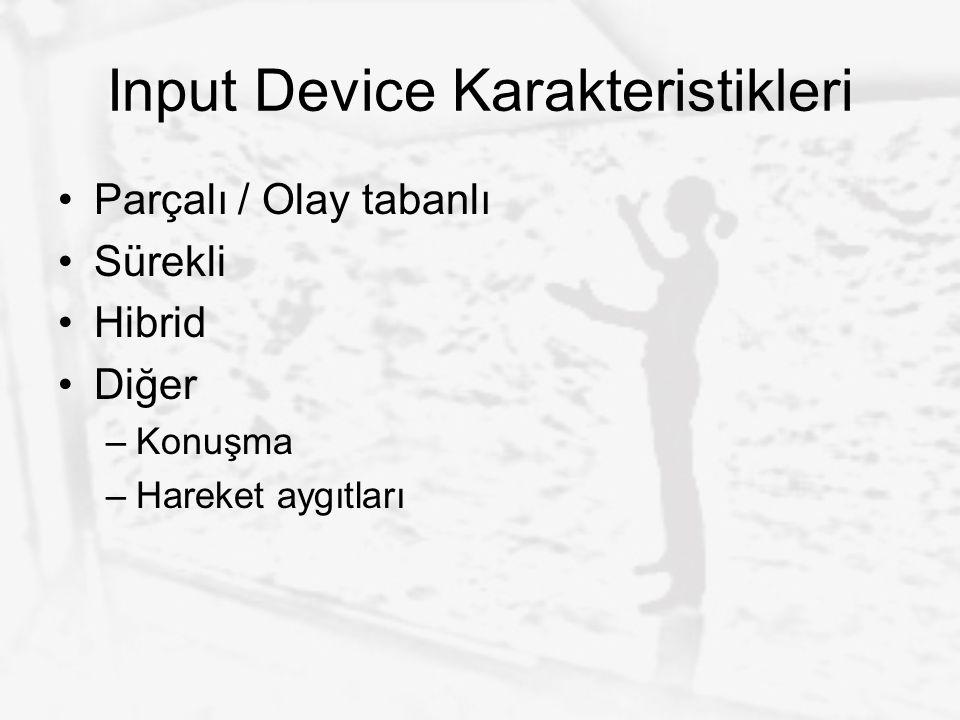 Input Device Karakteristikleri Parçalı / Olay tabanlı Sürekli Hibrid Diğer –Konuşma –Hareket aygıtları