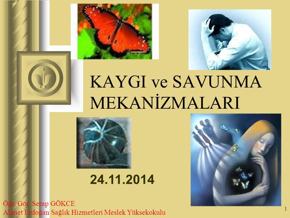 24.11.2014 1 KAYGI ve SAVUNMA MEKANİZMALARI Bu sunu sırasında, dinleyicilerin de katılımıyla, yapılması gereken işlemlerin ortaya çıkacağı konuşmalar olacaktır.