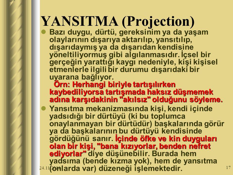 24.11.2014 17 YANSITMA (Projection) Örn: Herhangi biriyle tartışılırken kaybediliyorsa tartışmada haksız düşmemek adına karşıdakinin akılsız olduğunu söyleme.