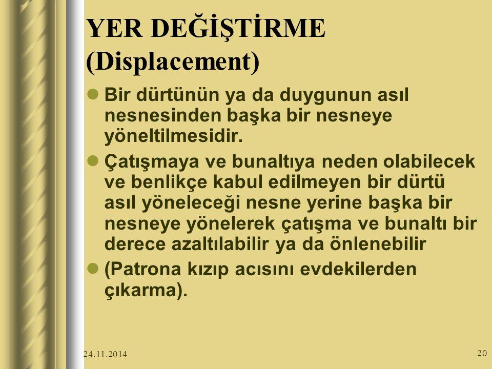 24.11.2014 20 YER DEĞİŞTİRME (Displacement) Bir dürtünün ya da duygunun asıl nesnesinden başka bir nesneye yöneltilmesidir.