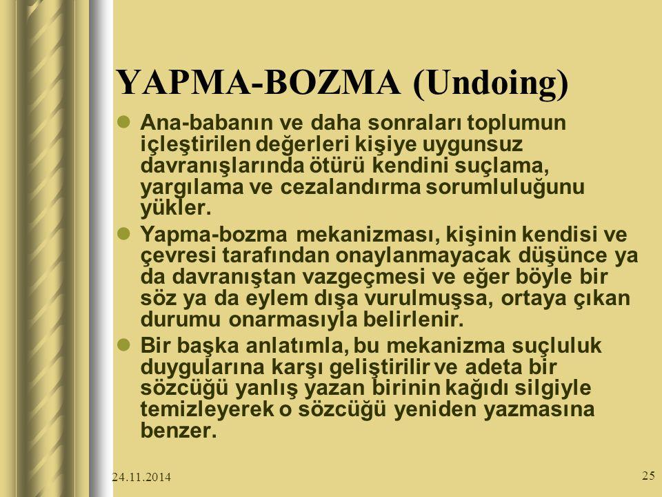 24.11.2014 25 YAPMA-BOZMA (Undoing) Ana-babanın ve daha sonraları toplumun içleştirilen değerleri kişiye uygunsuz davranışlarında ötürü kendini suçlama, yargılama ve cezalandırma sorumluluğunu yükler.