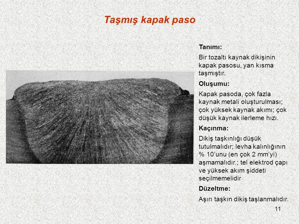 11 Taşmış kapak paso Tanımı: Bir tozaltı kaynak dikişinin kapak pasosu, yan kısma taşmıştır.