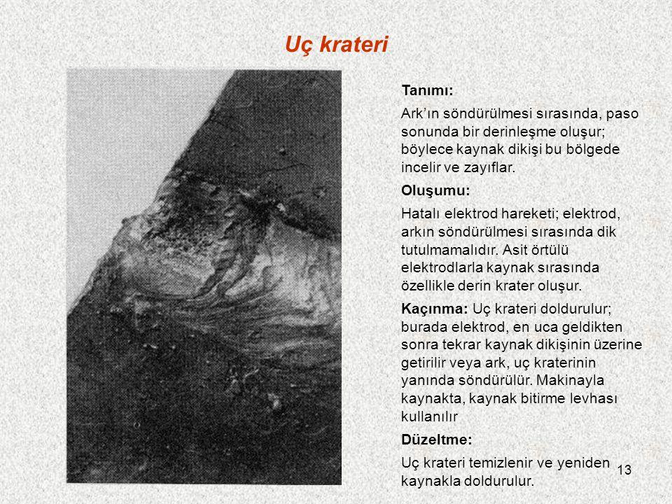 13 Uç krateri Tanımı: Ark'ın söndürülmesi sırasında, paso sonunda bir derinleşme oluşur; böylece kaynak dikişi bu bölgede incelir ve zayıflar. Oluşumu
