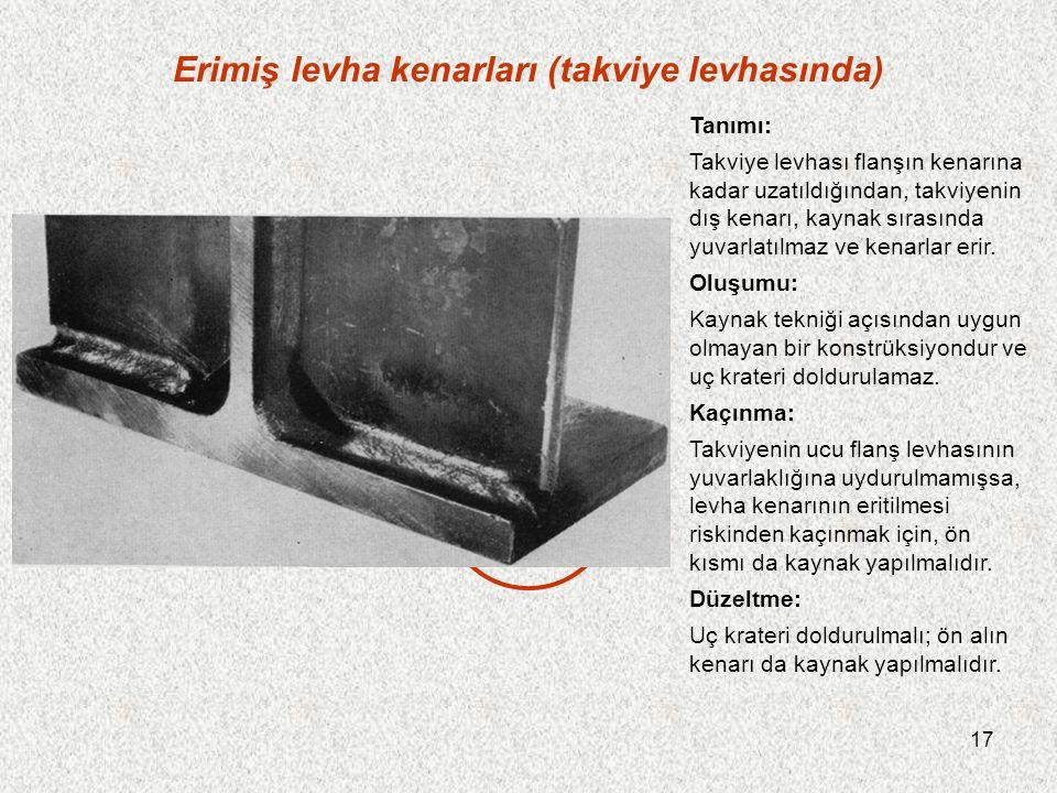 17 Erimiş levha kenarları (takviye levhasında) Tanımı: Takviye levhası flanşın kenarına kadar uzatıldığından, takviyenin dış kenarı, kaynak sırasında yuvarlatılmaz ve kenarlar erir.