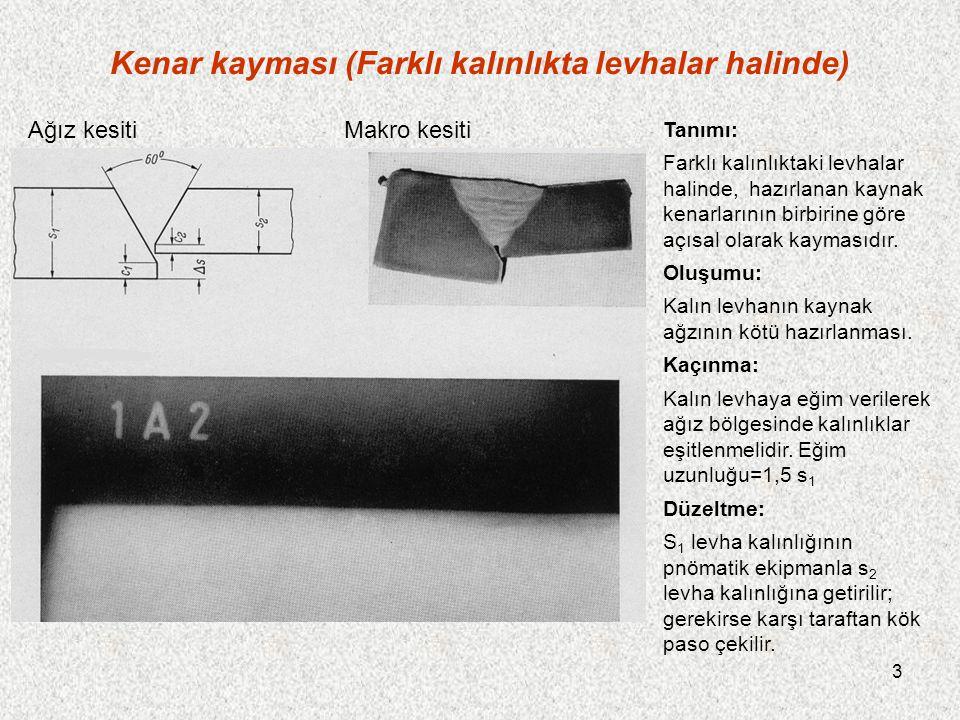 14 İçbükey kök (tavan pozisyonunda) Tanımı: Yuvarlak bir dikişin tavan pozisyonunda yapılan kısmında, kök kaynak metaliyle doldurulmamıştır.