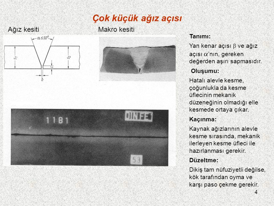 15 Erimiş levha kenarı Tanımı: Levha kenarı, arkla erir ve kenardaki sıvı metal yere damlar.