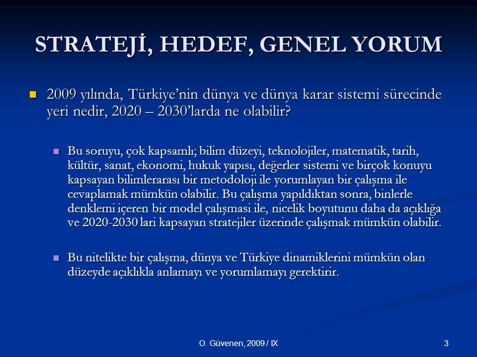 3O. Güvenen, 2009 / IX STRATEJİ, HEDEF, GENEL YORUM 2009 yılında, Türkiye'nin dünya ve dünya karar sistemi sürecinde yeri nedir, 2020 – 2030'larda ne