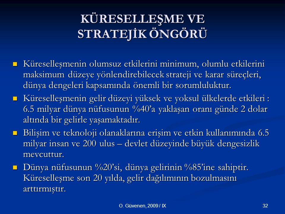 32O. Güvenen, 2009 / IX Küreselleşmenin olumsuz etkilerini minimum, olumlu etkilerini maksimum düzeye yönlendirebilecek strateji ve karar süreçleri, d