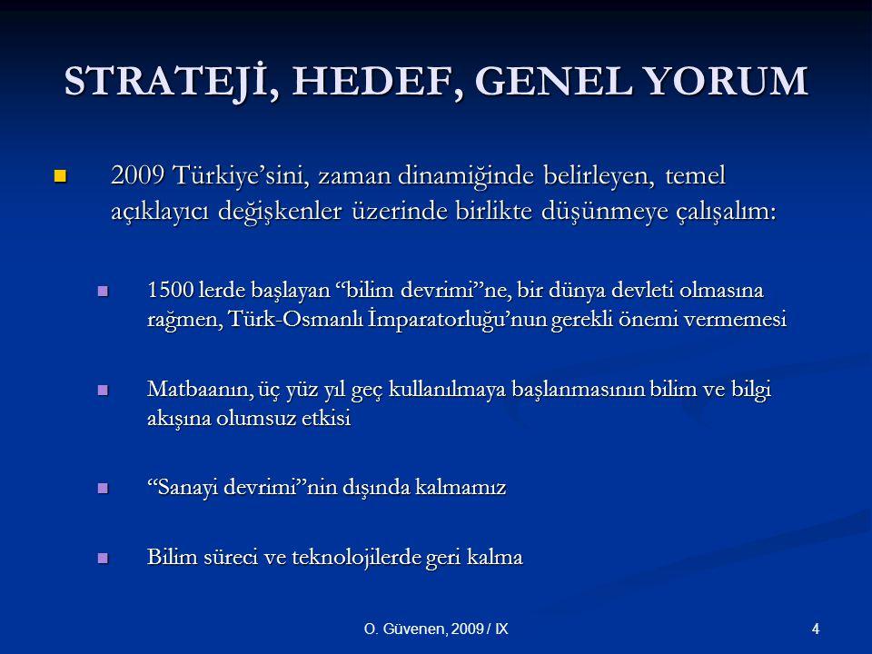 4O. Güvenen, 2009 / IX STRATEJİ, HEDEF, GENEL YORUM 2009 Türkiye'sini, zaman dinamiğinde belirleyen, temel açıklayıcı değişkenler üzerinde birlikte dü