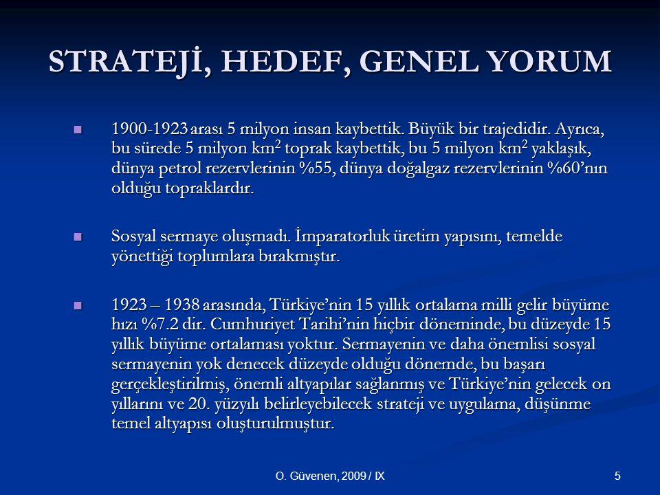 5O.Güvenen, 2009 / IX STRATEJİ, HEDEF, GENEL YORUM 1900-1923 arası 5 milyon insan kaybettik.