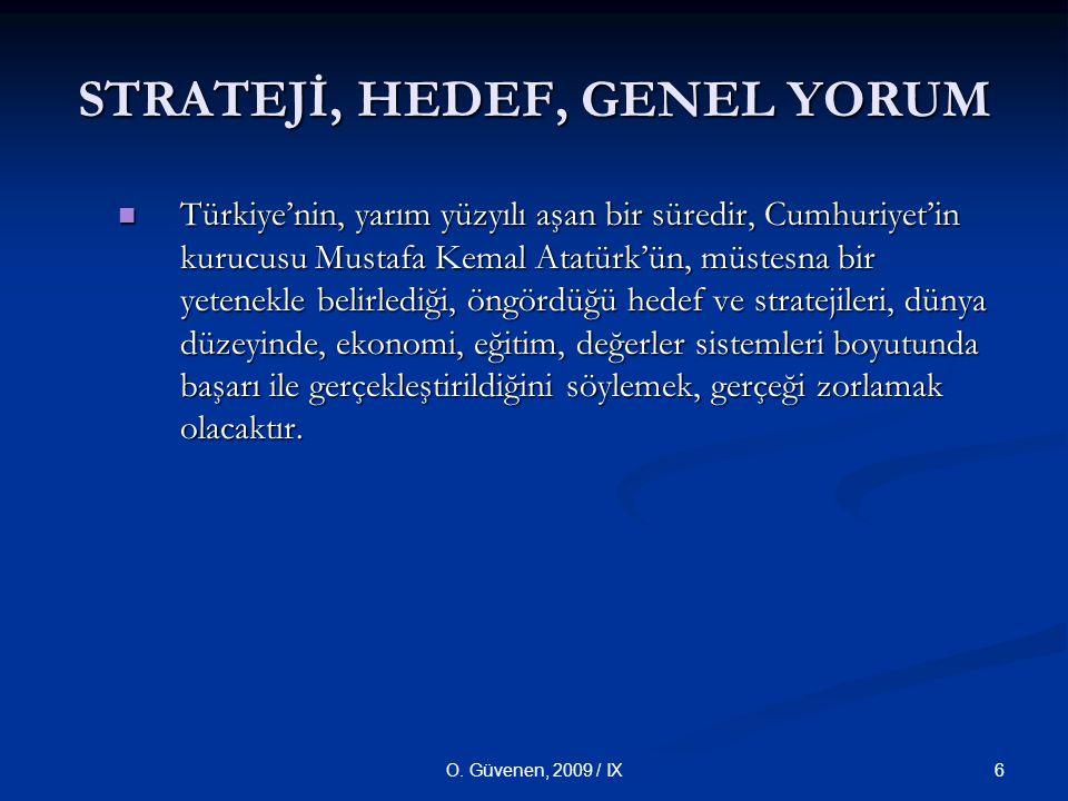 6O. Güvenen, 2009 / IX STRATEJİ, HEDEF, GENEL YORUM Türkiye'nin, yarım yüzyılı aşan bir süredir, Cumhuriyet'in kurucusu Mustafa Kemal Atatürk'ün, müst