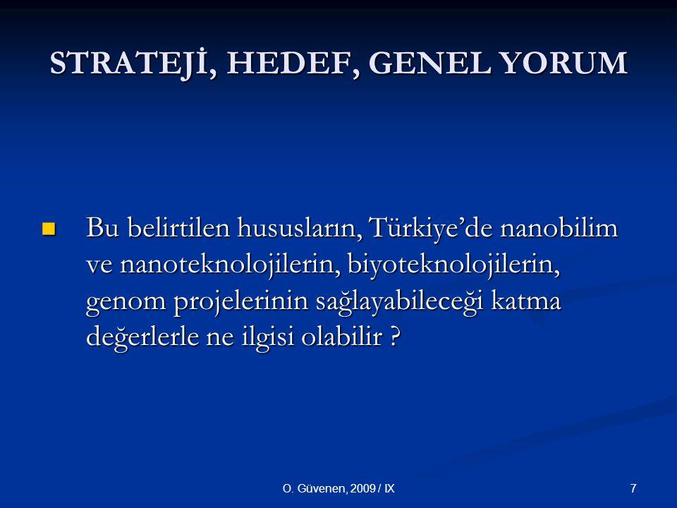 7O. Güvenen, 2009 / IX STRATEJİ, HEDEF, GENEL YORUM Bu belirtilen hususların, Türkiye'de nanobilim ve nanoteknolojilerin, biyoteknolojilerin, genom pr