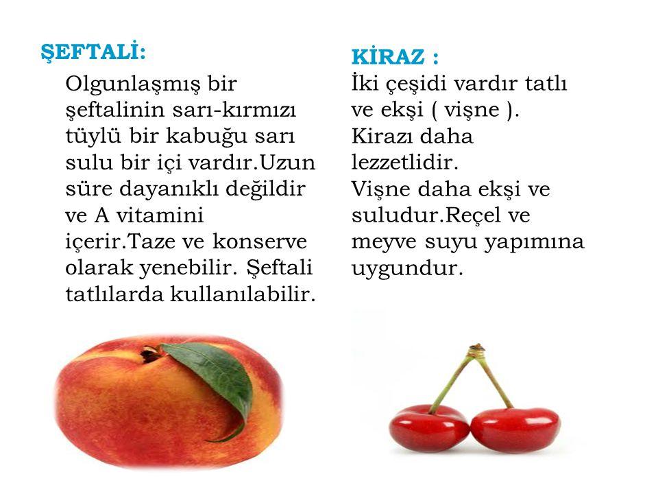 Sert Meyveler ELMA : C vitamini,potasyum ve lif yönünden zengindir.