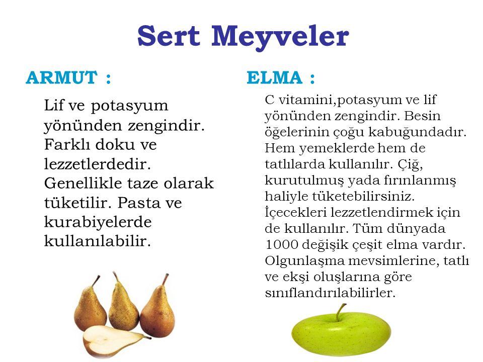 Sert Meyveler ELMA : C vitamini,potasyum ve lif yönünden zengindir. Besin öğelerinin çoğu kabuğundadır. Hem yemeklerde hem de tatlılarda kullanılır. Ç