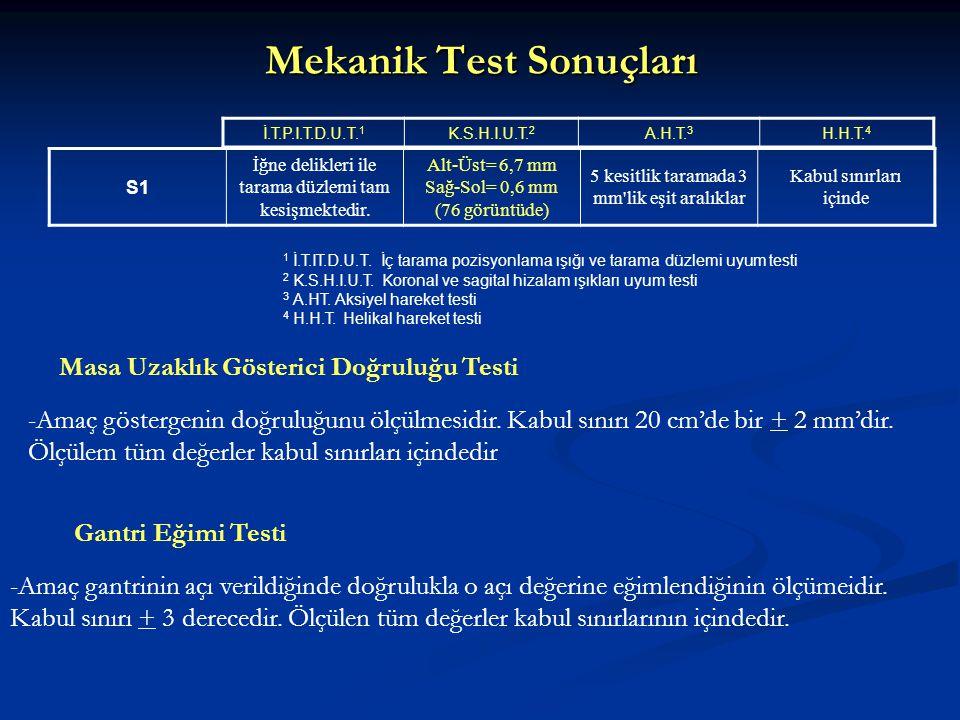 Mekanik Test Sonuçları S1 İğne delikleri ile tarama düzlemi tam kesişmektedir. Alt-Üst= 6,7 mm Sağ-Sol= 0,6 mm (76 görüntüde) 5 kesitlik taramada 3 mm