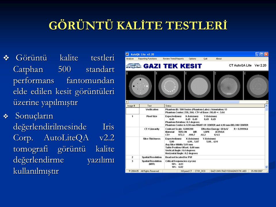 Görüntü Kalite Testleri Sonuçları CT Numarası Doğruluğu CT Numarası Doğrusallığı Tolerans (HU)Ölçülen (HU) HavaD.D.P.E.AkrilikTeflonHavaD.D.P.E.AkrilikTeflon S2 -950/ -1050 -85/-125114/126940/1040-1092,3 * -109,81241047,4 * S3 -950/ -1050 -85/-125114/126940/1040-1004-92122,61390 * -Amaç homojen bir görüntüde kenarlarda CT numaralarının ne kadar saptığının ölçümüdür.