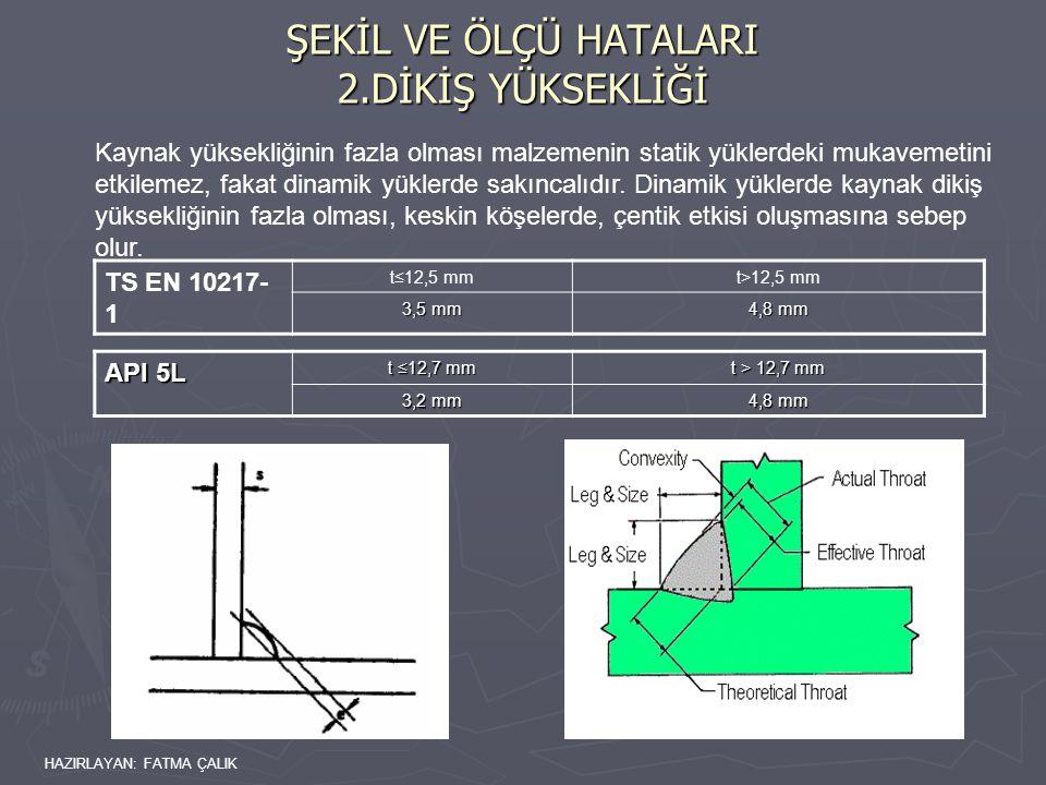 HAZIRLAYAN: FATMA ÇALIK Kaynak yüksekliğinin fazla olması malzemenin statik yüklerdeki mukavemetini etkilemez, fakat dinamik yüklerde sakıncalıdır.