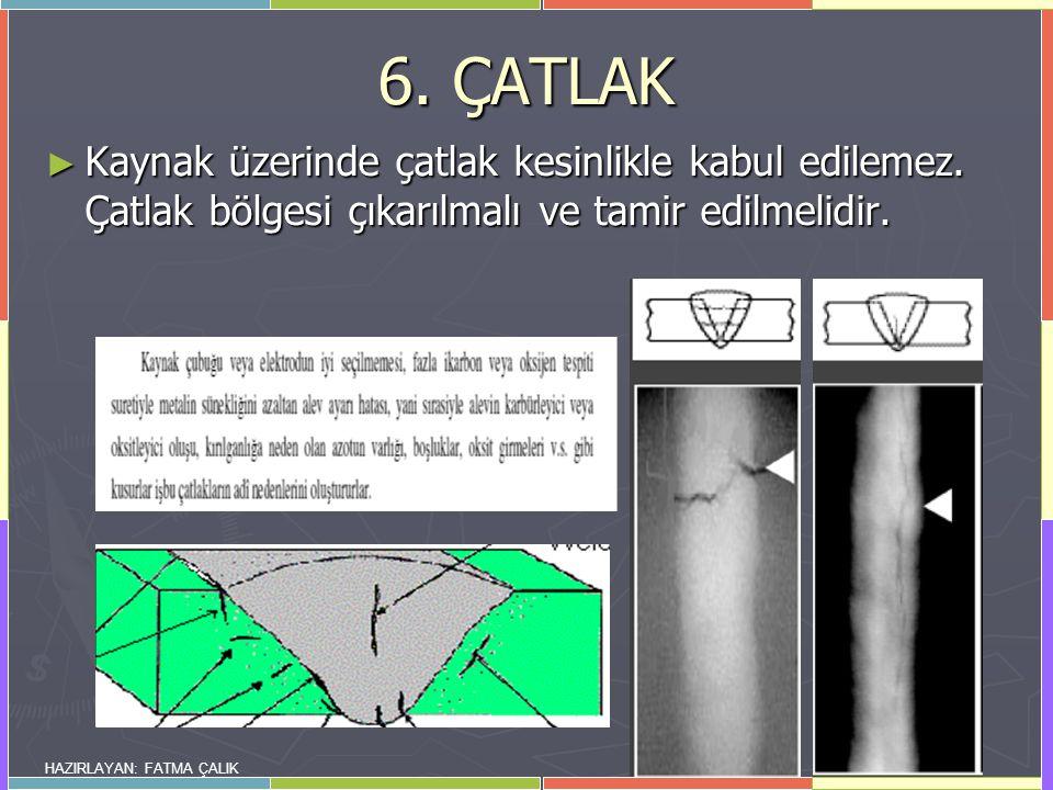 HAZIRLAYAN: FATMA ÇALIK 6.ÇATLAK ► Kaynak üzerinde çatlak kesinlikle kabul edilemez.