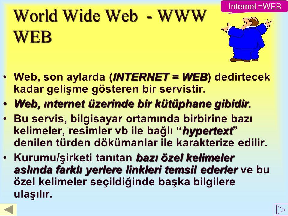 İnternet servislerini kullanmak için nelere ihtiyaç var ? –Internet'e bağlı bir bilgisayar. –Web erişimini sağlayacak programlar. –Web hizmeti veren s
