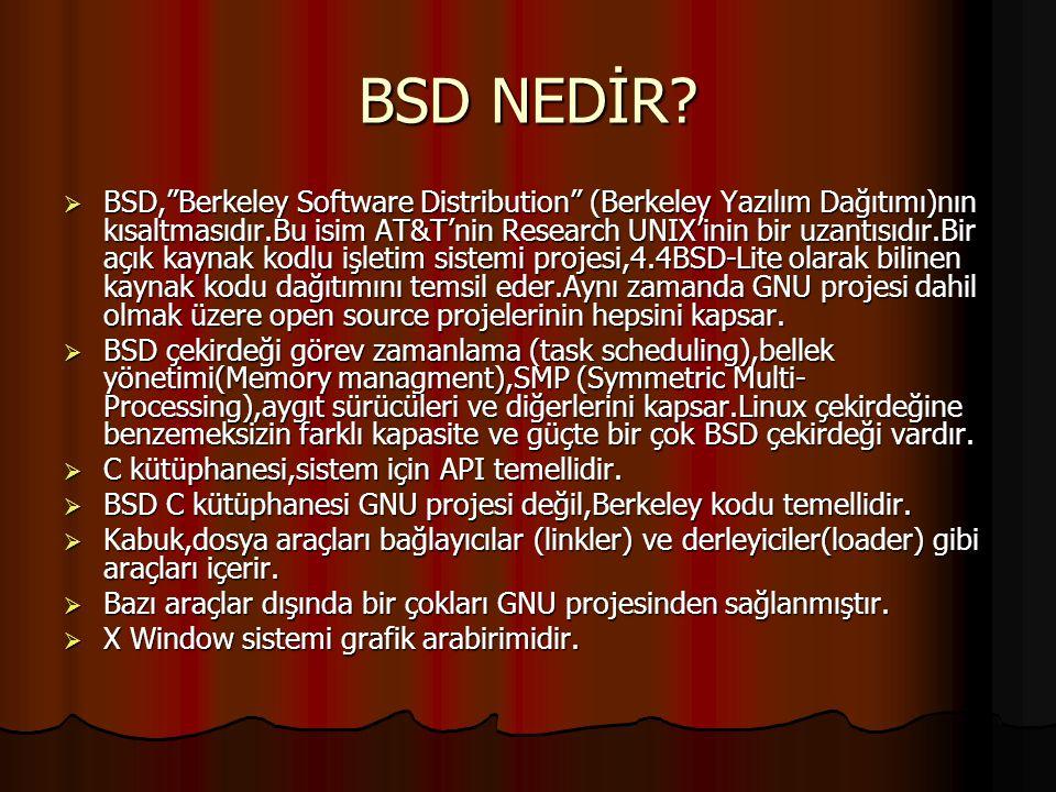 Giriş Kimler BSD Kullanıyor?  Dünyanın bir numaralı web sunucularından Yahoo BSD kullanmaktadır.  Hatta Microsoft'un en önemli Internet şirketlerind