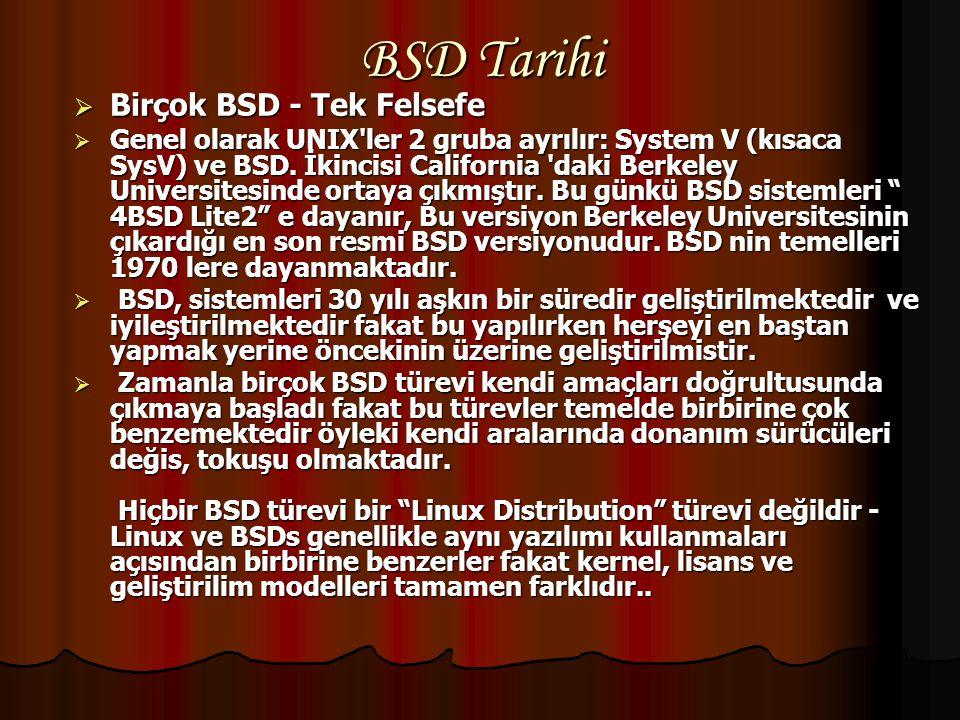 """BSD NEDİR?  BSD,""""Berkeley Software Distribution"""" (Berkeley Yazılım Dağıtımı)nın kısaltmasıdır.Bu isim AT&T'nin Research UNIX'inin bir uzantısıdır.Bir"""