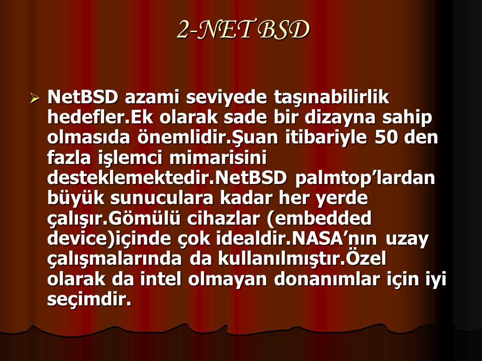 1- Free BSD  Free BSD yüksek performans ve son kullanıcılar için kullanım kolaylığı amacını güder.IIS firmaları için favori işletim sistemidir. Bütün