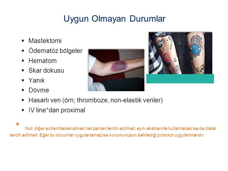  Mastektomi  Ödematöz bölgeler  Hematom  Skar dokusu  Yanık  Dövme  Hasarlı ven (örn; thromboze, non-elastik venler)  IV line*dan proximal * N