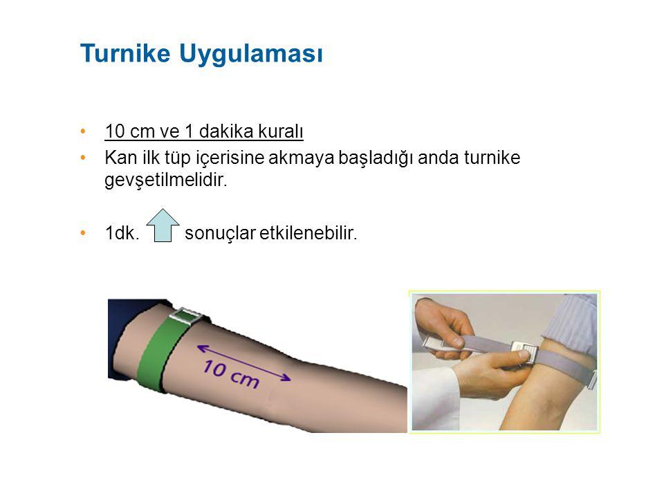 Turnike Uygulaması 10 cm ve 1 dakika kuralı Kan ilk tüp içerisine akmaya başladığı anda turnike gevşetilmelidir. 1dk. sonuçlar etkilenebilir.