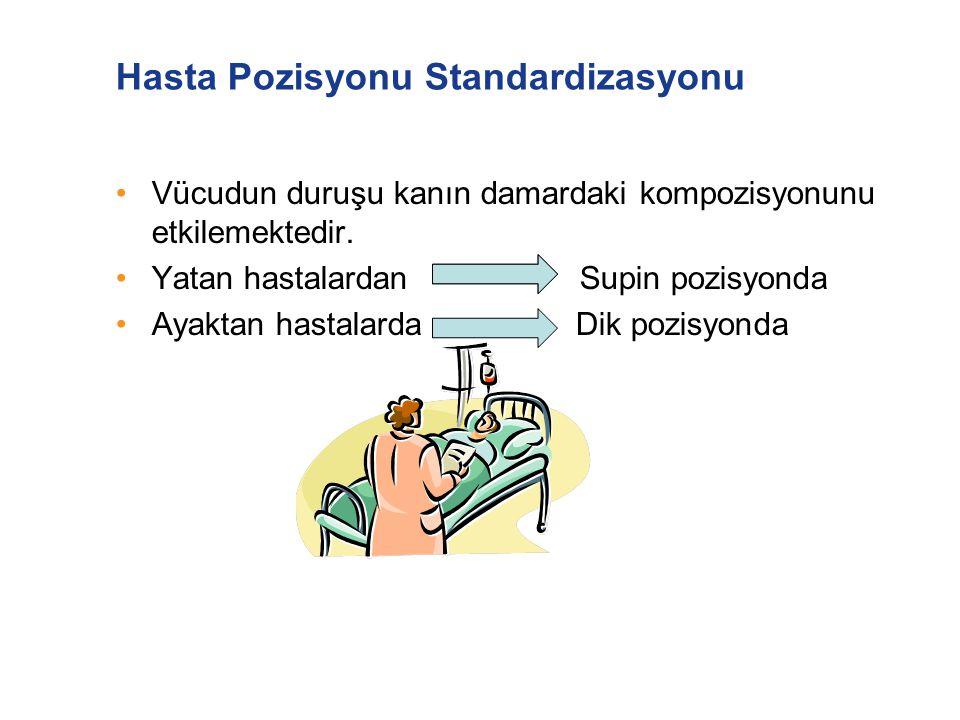 Hasta Pozisyonu Standardizasyonu Vücudun duruşu kanın damardaki kompozisyonunu etkilemektedir. Yatan hastalardan Supin pozisyonda Ayaktan hastalarda D