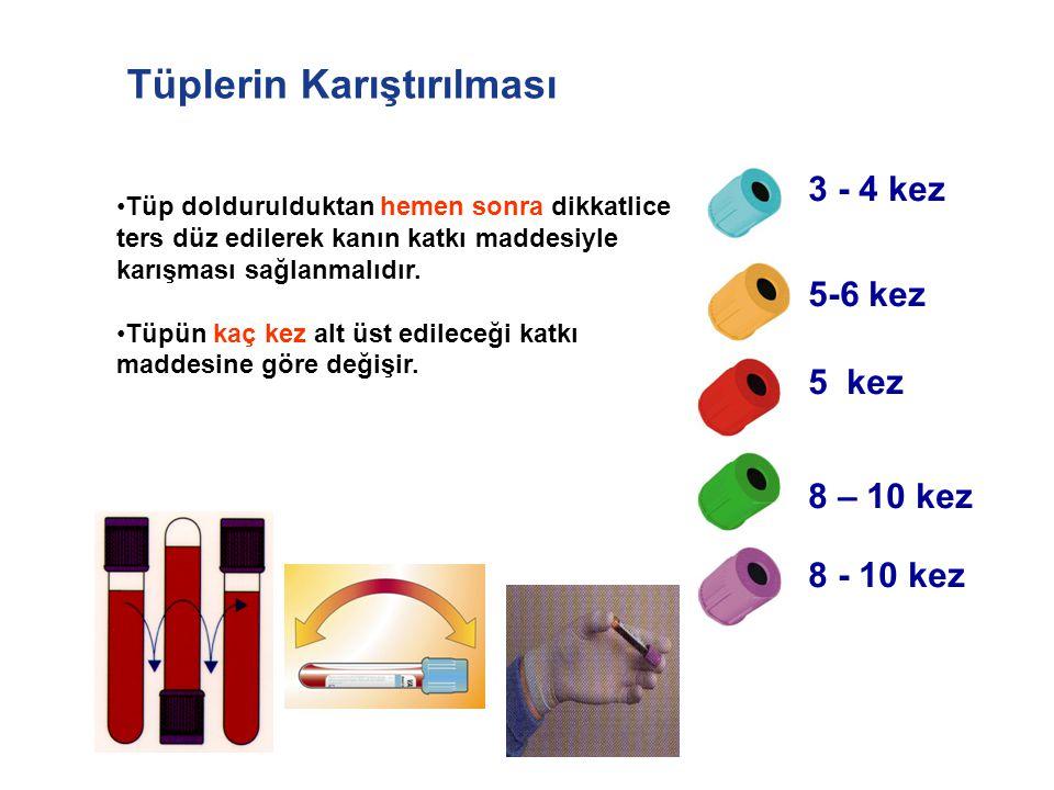 Tüplerin Karıştırılması 3 - 4 kez 8 – 10 kez 5 kez 5-6 kez 8 - 10 kez Tüp doldurulduktan hemen sonra dikkatlice ters düz edilerek kanın katkı maddesiy