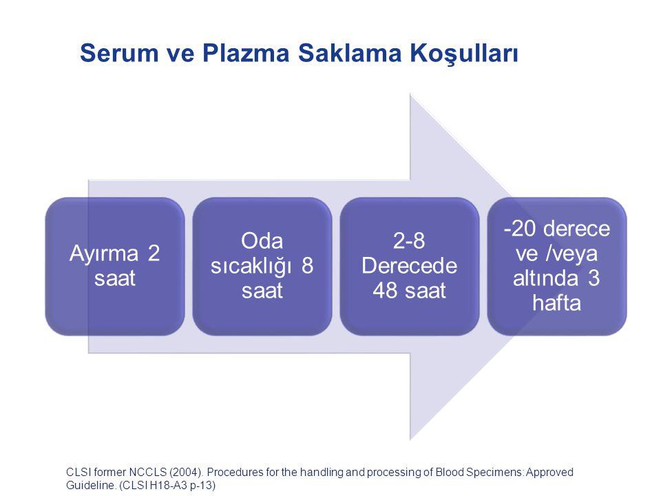 Serum ve Plazma Saklama Koşulları CLSI former NCCLS (2004). Procedures for the handling and processing of Blood Specimens: Approved Guideline. (CLSI H