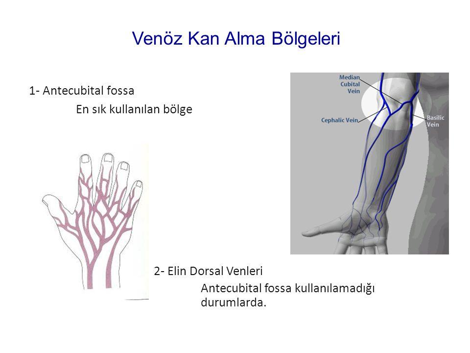 1- Antecubital fossa En sık kullanılan bölge 2- Elin Dorsal Venleri Antecubital fossa kullanılamadığı durumlarda. Venöz Kan Alma Bölgeleri