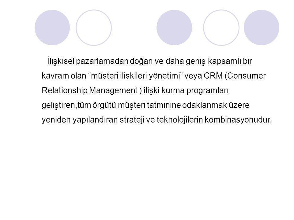 İlişkisel pazarlamadan doğan ve daha geniş kapsamlı bir kavram olan müşteri ilişkileri yönetimi veya CRM (Consumer Relationship Management ) ilişki kurma programları geliştiren,tüm örgütü müşteri tatminine odaklanmak üzere yeniden yapılandıran strateji ve teknolojilerin kombinasyonudur.