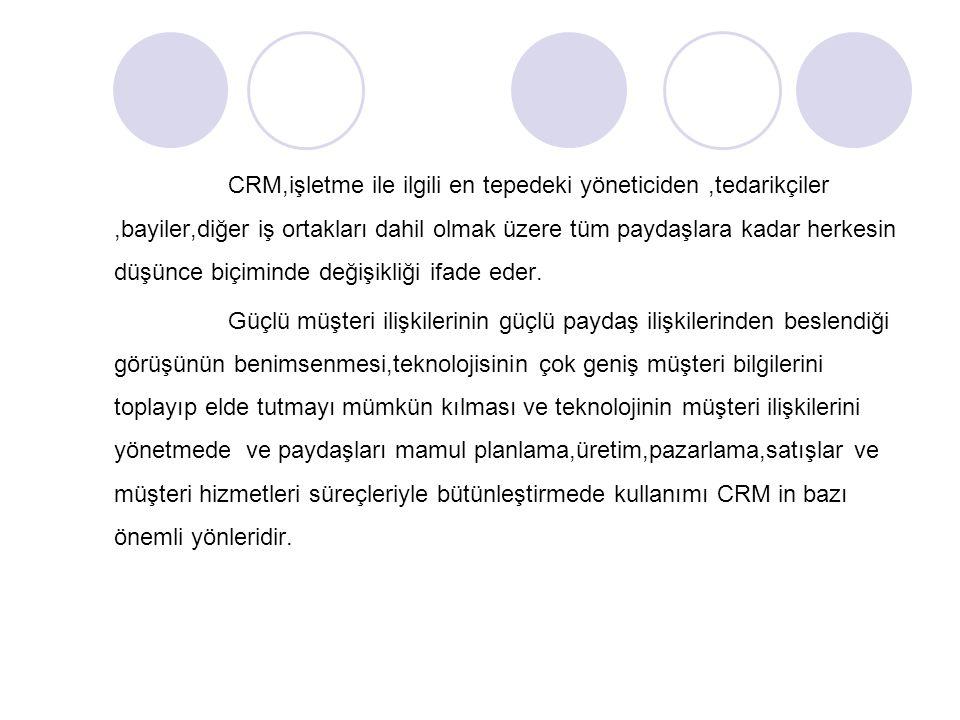 CRM,işletme ile ilgili en tepedeki yöneticiden,tedarikçiler,bayiler,diğer iş ortakları dahil olmak üzere tüm paydaşlara kadar herkesin düşünce biçiminde değişikliği ifade eder.
