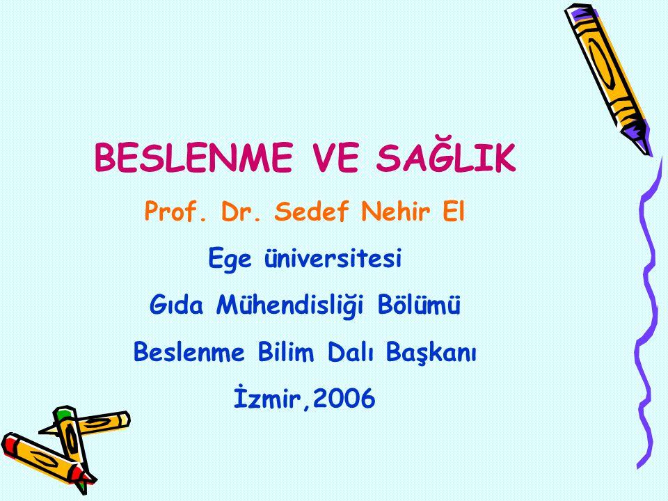 BESLENME VE SAĞLIK Prof. Dr. Sedef Nehir El Ege üniversitesi Gıda Mühendisliği Bölümü Beslenme Bilim Dalı Başkanı İzmir,2006