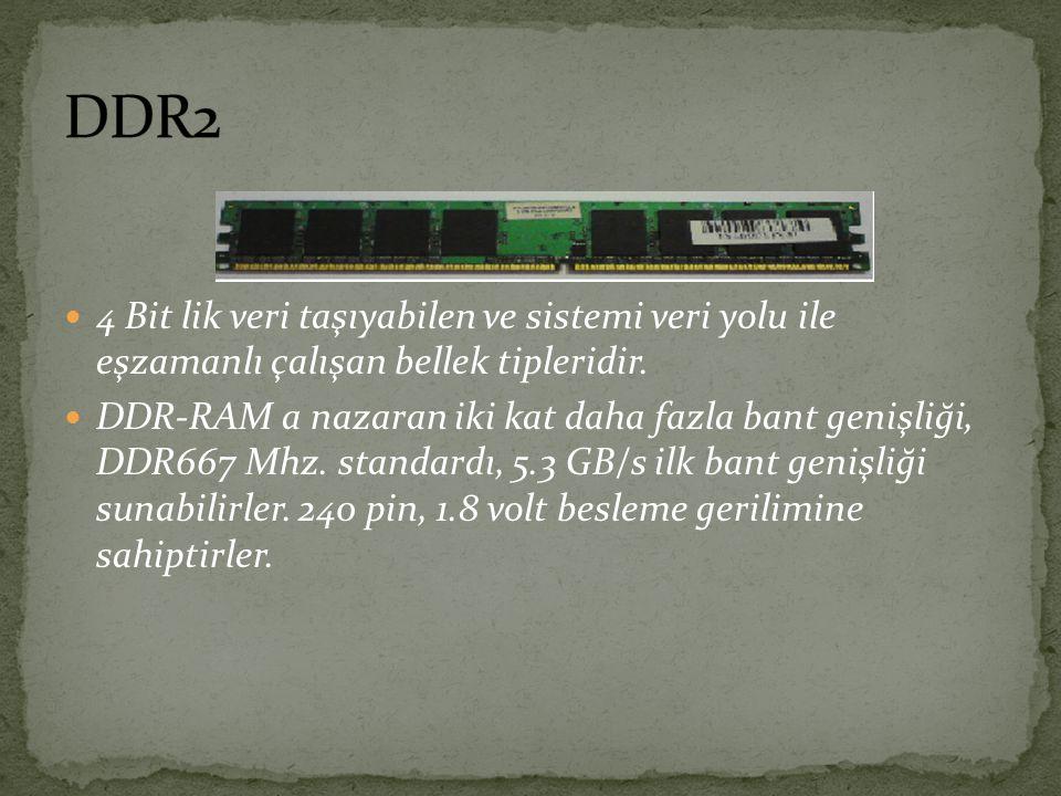 4 Bit lik veri taşıyabilen ve sistemi veri yolu ile eşzamanlı çalışan bellek tipleridir. DDR-RAM a nazaran iki kat daha fazla bant genişliği, DDR667 M