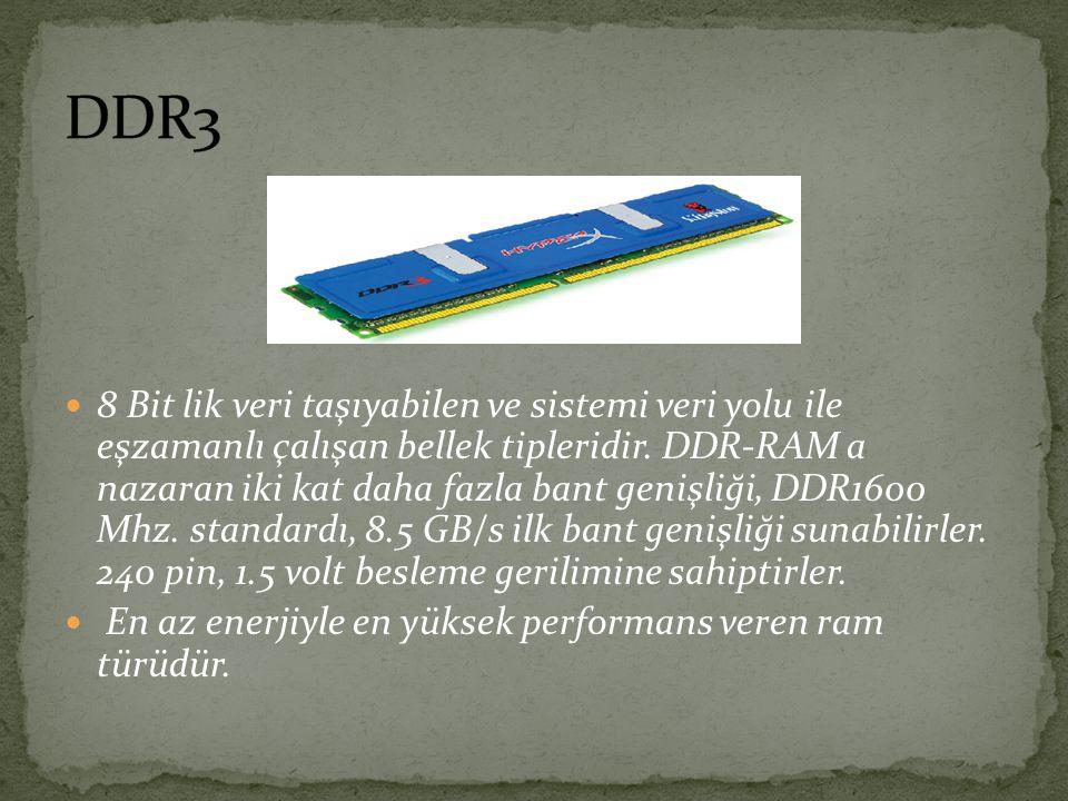 8 Bit lik veri taşıyabilen ve sistemi veri yolu ile eşzamanlı çalışan bellek tipleridir. DDR-RAM a nazaran iki kat daha fazla bant genişliği, DDR1600