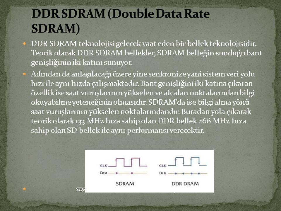 DDR SDRAM teknolojisi gelecek vaat eden bir bellek teknolojisidir. Teorik olarak DDR SDRAM bellekler, SDRAM belleğin sunduğu bant genişliğinin iki kat