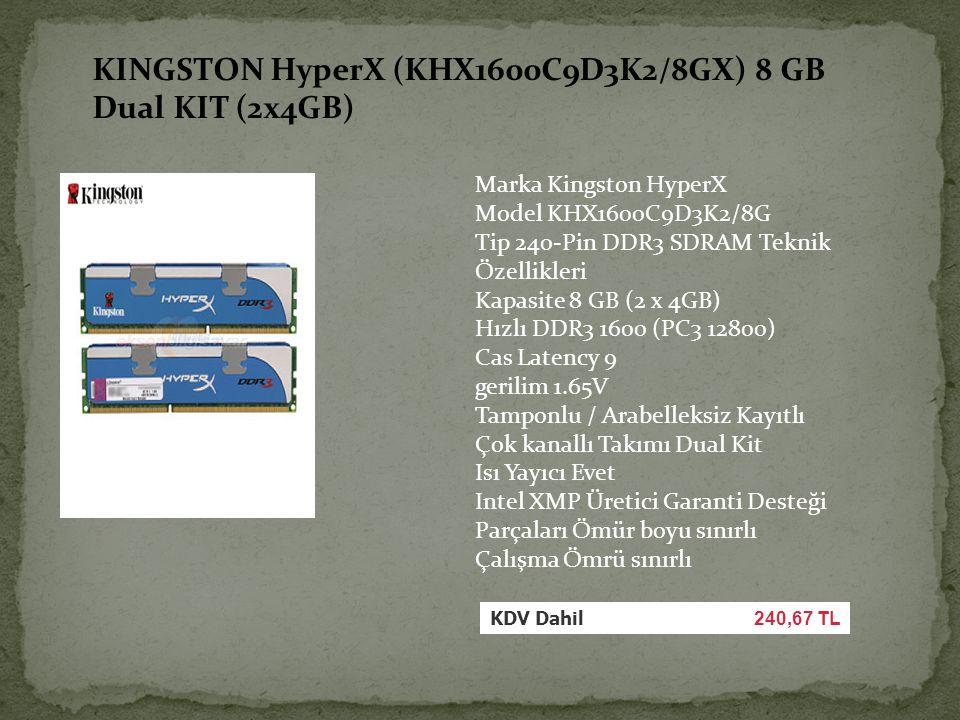 Marka Kingston HyperX Model KHX1600C9D3K2/8G Tip 240-Pin DDR3 SDRAM Teknik Özellikleri Kapasite 8 GB (2 x 4GB) Hızlı DDR3 1600 (PC3 12800) Cas Latency