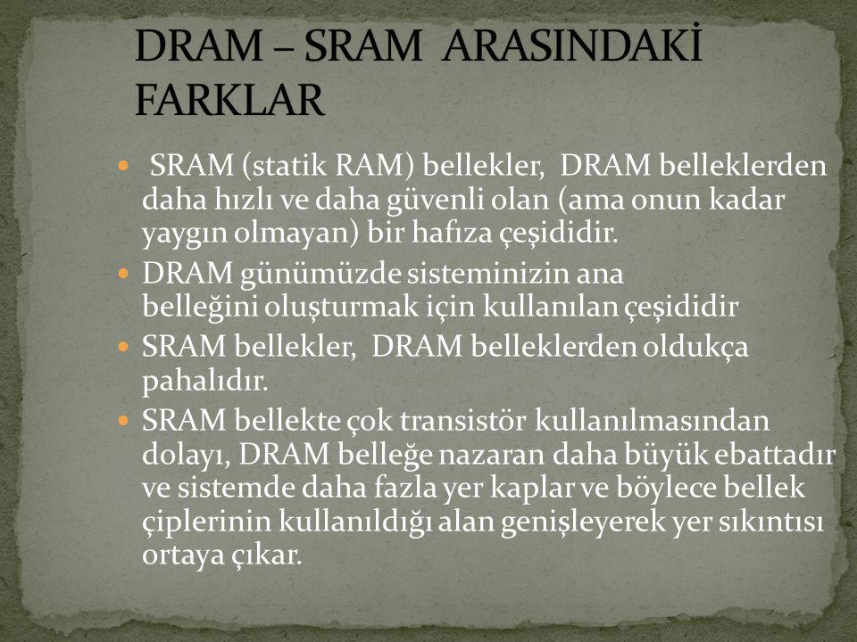 SRAM (statik RAM) bellekler, DRAM belleklerden daha hızlı ve daha güvenli olan (ama onun kadar yaygın olmayan) bir hafıza çeşididir. DRAM günümüzde si