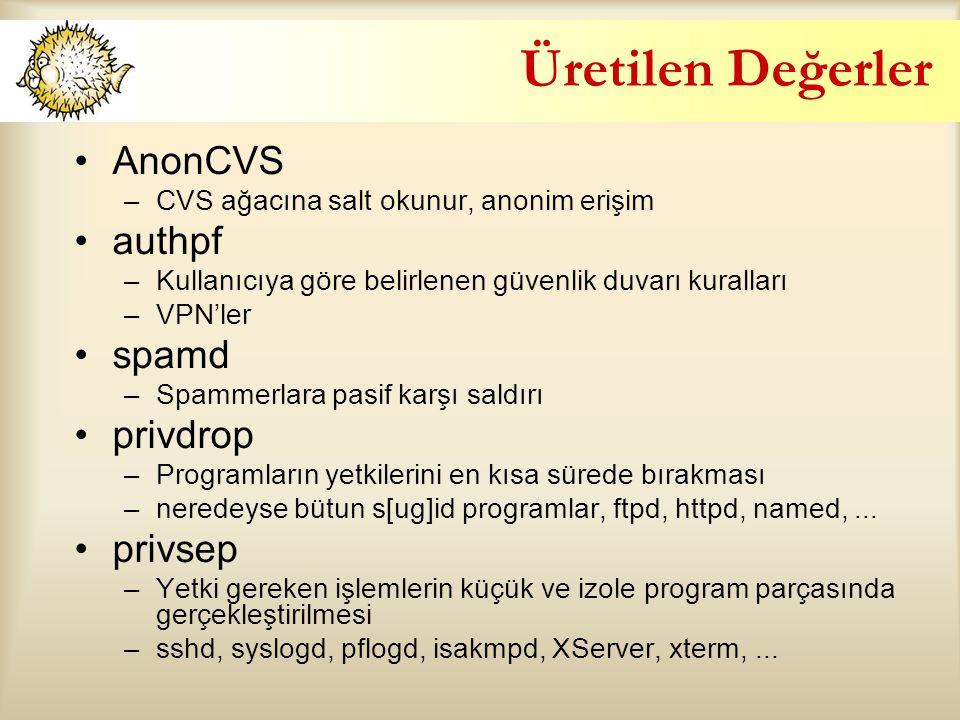Üretilen Değerler AnonCVS –CVS ağacına salt okunur, anonim erişim authpf –Kullanıcıya göre belirlenen güvenlik duvarı kuralları –VPN'ler spamd –Spammerlara pasif karşı saldırı privdrop –Programların yetkilerini en kısa sürede bırakması –neredeyse bütun s[ug]id programlar, ftpd, httpd, named,...