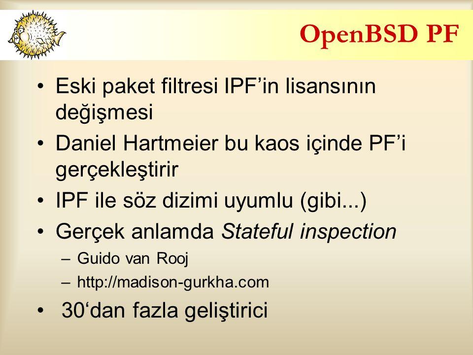 OpenBSD PF Eski paket filtresi IPF'in lisansının değişmesi Daniel Hartmeier bu kaos içinde PF'i gerçekleştirir IPF ile söz dizimi uyumlu (gibi...) Gerçek anlamda Stateful inspection –Guido van Rooj –http://madison-gurkha.com 30'dan fazla geliştirici