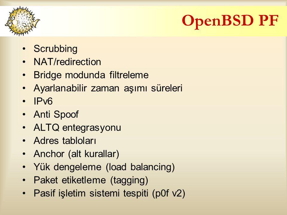 OpenBSD PF Scrubbing NAT/redirection Bridge modunda filtreleme Ayarlanabilir zaman aşımı süreleri IPv6 Anti Spoof ALTQ entegrasyonu Adres tabloları Anchor (alt kurallar) Yük dengeleme (load balancing) Paket etiketleme (tagging) Pasif işletim sistemi tespiti (p0f v2)