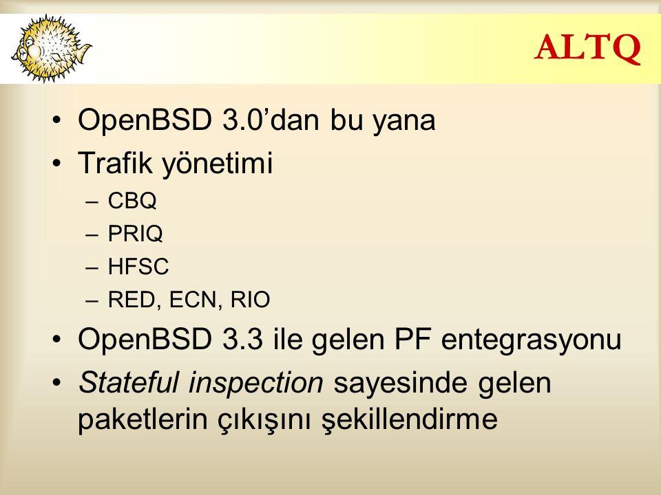 ALTQ OpenBSD 3.0'dan bu yana Trafik yönetimi –CBQ –PRIQ –HFSC –RED, ECN, RIO OpenBSD 3.3 ile gelen PF entegrasyonu Stateful inspection sayesinde gelen paketlerin çıkışını şekillendirme