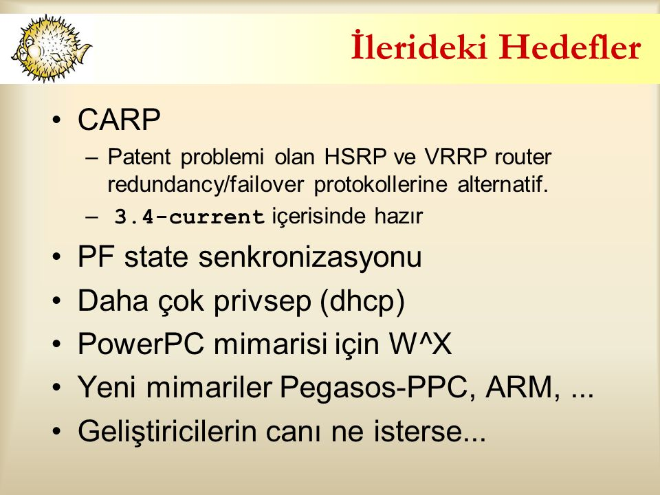 İlerideki Hedefler CARP –Patent problemi olan HSRP ve VRRP router redundancy/failover protokollerine alternatif. – 3.4-current içerisinde hazır PF sta
