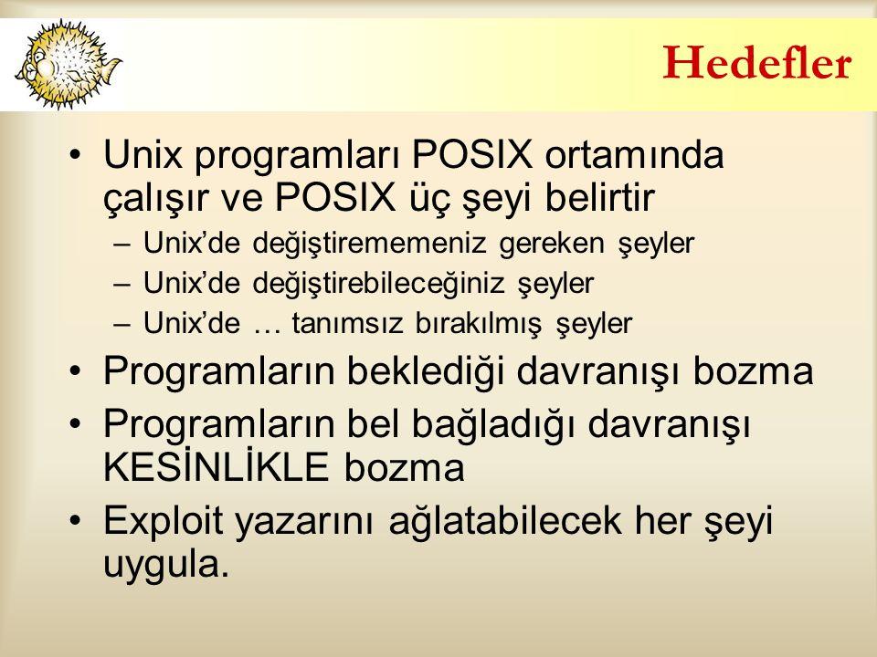 Hedefler Unix programları POSIX ortamında çalışır ve POSIX üç şeyi belirtir –Unix'de değiştirememeniz gereken şeyler –Unix'de değiştirebileceğiniz şeyler –Unix'de … tanımsız bırakılmış şeyler Programların beklediği davranışı bozma Programların bel bağladığı davranışı KESİNLİKLE bozma Exploit yazarını ağlatabilecek her şeyi uygula.