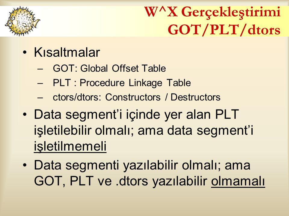 W^X Gerçekleştirimi GOT/PLT/dtors Kısaltmalar –GOT: Global Offset Table –PLT : Procedure Linkage Table –ctors/dtors: Constructors / Destructors Data segment'i içinde yer alan PLT işletilebilir olmalı; ama data segment'i işletilmemeli Data segmenti yazılabilir olmalı; ama GOT, PLT ve.dtors yazılabilir olmamalı