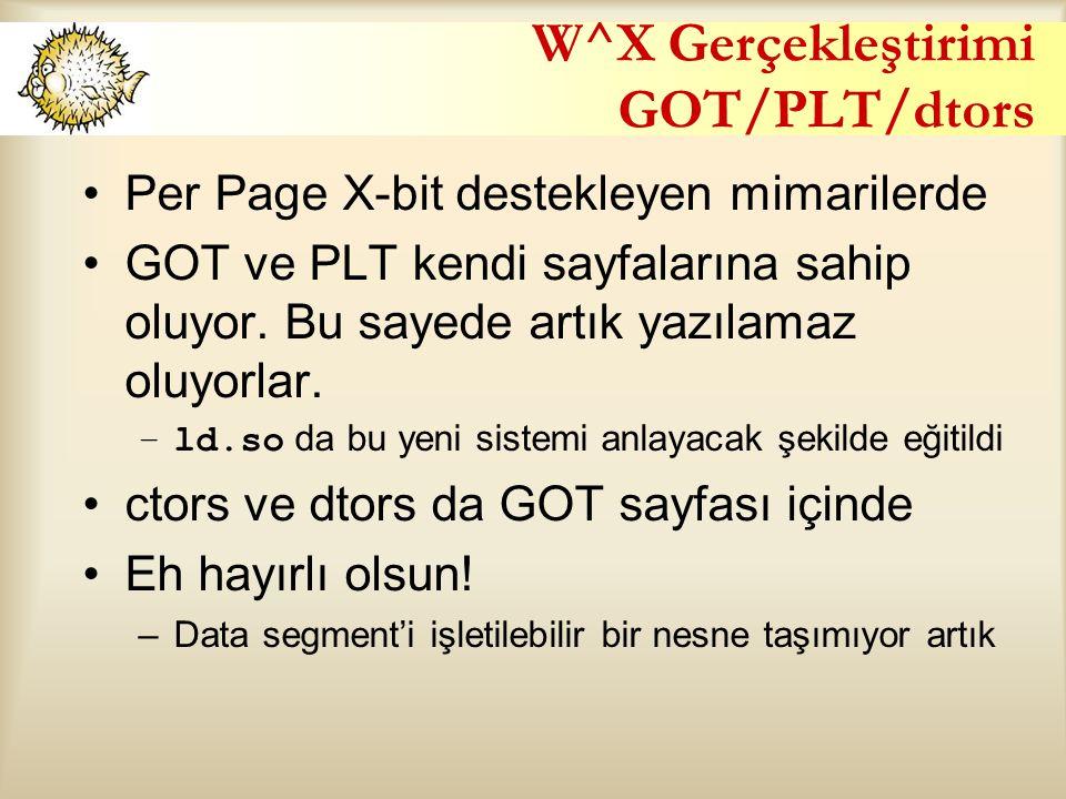W^X Gerçekleştirimi GOT/PLT/dtors Per Page X-bit destekleyen mimarilerde GOT ve PLT kendi sayfalarına sahip oluyor. Bu sayede artık yazılamaz oluyorla